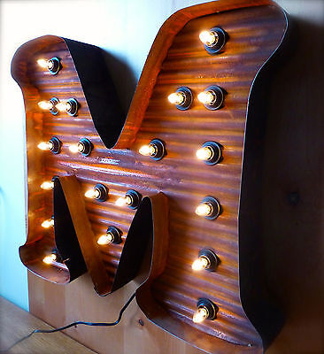 "LARGE VINTAGE STYLE LIGHT UP MARQUEE LETTER M, 24"" TALL industrial rustic sign 3"