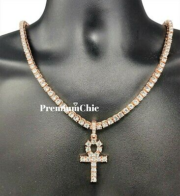 ANKH Cross Pendant Tennis Chain 14K Silver Gold Rose Hip Hop Bling Necklace 5