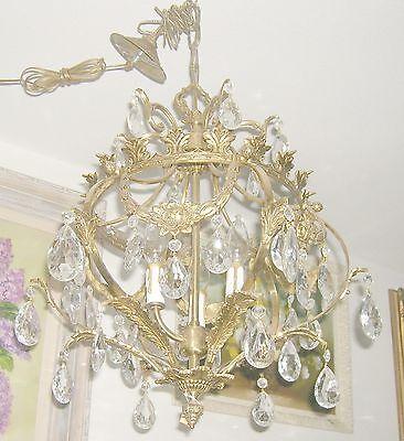 Reduced!! Fabulous Embossed Brass&Crystal  Chandelier Nashville Architect. Salv. 2