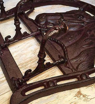 Cast Iron Horse Head & Horseshoe Wall-Mount Vintage Coat/Towel Rack Holder 3