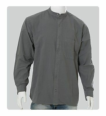 Collarless Classic Grandad Shirt - Button Thru- Cotton - Small-4XL Casual Shirt