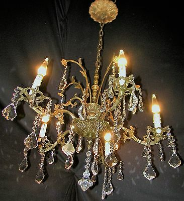 VTG DECO FRENCH CAST BRASS 32% LEAD CRYSTALS CHANDELIER CEILING FIXTURE 1950's 11