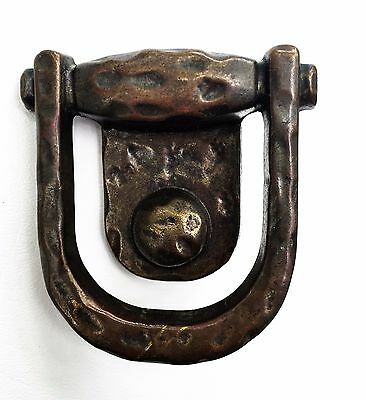 "1 3/4"" center Rustic Arts & Crafts. Antique Hardware Brass Drawer Pull Ring 7"