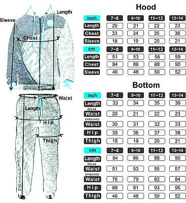 Kids Boys Girls Sports Tracksuit HNL Set Fleece Hoodie Top Bottoms Joggers 2