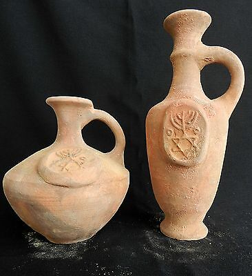 2 pcs. Biblical Antique Jugs HolyLand Jerusalem Clay Pottery Embossed David Star 2