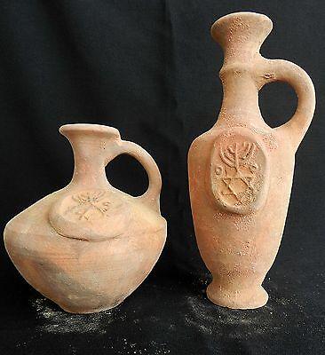 2 pcs. Biblical Antique Jugs HolyLand Jerusalem Clay Pottery Embossed David Star 2