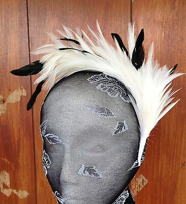 Ivory feather headband fascinator millinery wedding ascot bridal hat hair piece 2