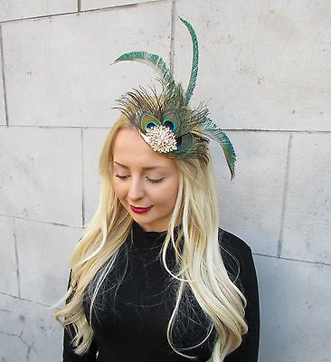 Gold Green Peacock Statement Feather Fascinator Pillbox Races Hat Ascot Vtg 2299 6