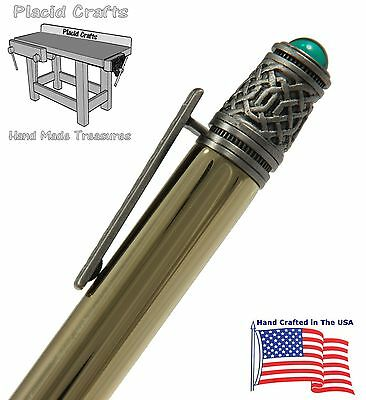 Celtic Ballpoint Pen with Raw Brass Body & Antique Pewter Hardware / #222 8