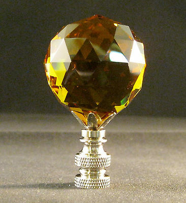 Lamp Finial-Lite Amber Leaded Crystal Lamp Finial-Satin Nickel Base 3