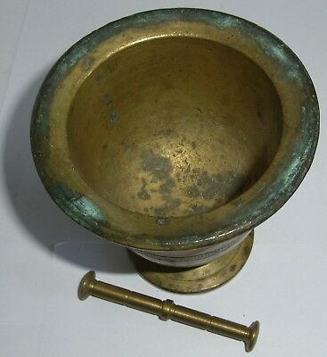 Alter Mörser mit Stößel ( Pistill ), Messing / Bronze,ca H 13 cm,Dm 11cm, 1571g 2