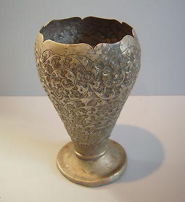 Ornate Floral  Art Nouveau Vintage Victorian Metal Vase 4