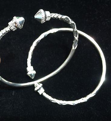 Pair Of Classic Pine Head Handmade West Indian Sterling Silver Bangles