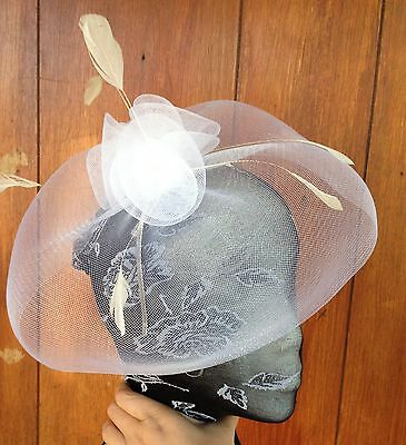 white feather headband fascinator millinery wedding ascot hat hair piece 2