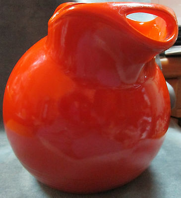 Heavy Large Unmarked Early Fiesta Uranium Orange Ball Pitcher With Ice Lip 2