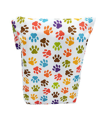 Colourful Paw Prints Large Zip Dry & Wet Bag - Baby Cloth Nappies, Waterproof 2