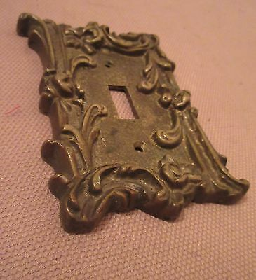 rare antique ornate thick solid brass light switch plate electric outlet cover 2