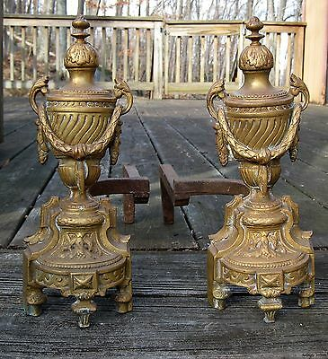 Antique 19th C. Bronze Brass French Louise XVI Urns Garland Fireplace Andirons 2