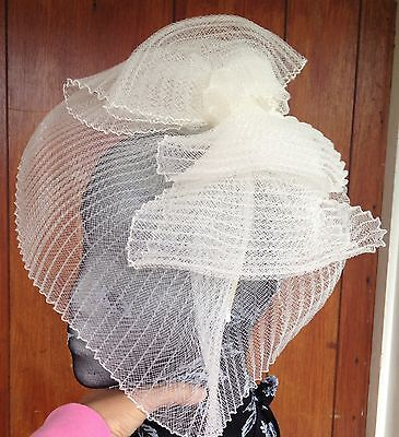 Ivory fascinator millinery burlesque wedding hat hair piece ascot race bridal x 3