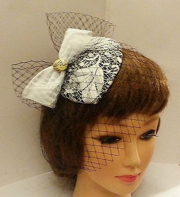 ... Vintage 1940s-50s Fascinator Veil Black   White Teardrop hat mini  birdcage veil 2 1fe844963dc