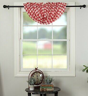 "60"" W Red & White Buffalo Check Balloon Window Valance Country Farmhouse Annie 2"
