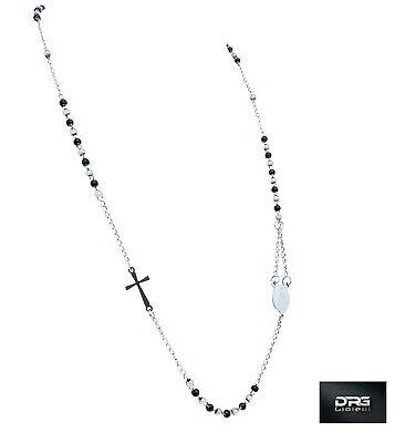 Rosario Uomo Donna Acciaio Collana Preghiera Argento Oro Nero Croce Sfere 2 Mm 4