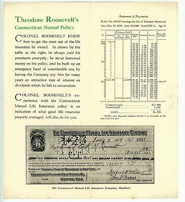 Political -THEODORE ROOSEVELT & CONNECTICUT MUTAL LIFE INSURANCE CO- Advertising 2