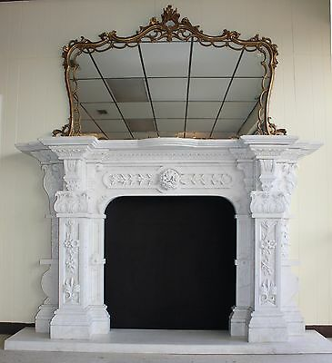 Hand Carved Carerra Marble Country French Monumental Fireplace Mantel Columns 12