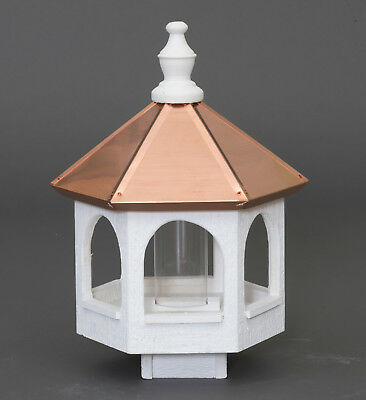 "20"" COPPER TOP BIRD SEED FEEDER - Amish Handmade 14"" Round Post Mount Gazebo USA 3"