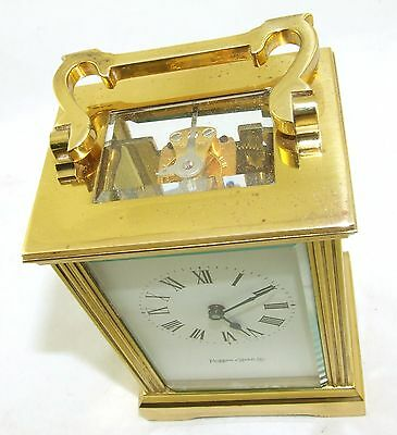 MAPPIN & WEBB Brass Carriage Mantel Clock Timepiece with Key  Working Order (54) 7