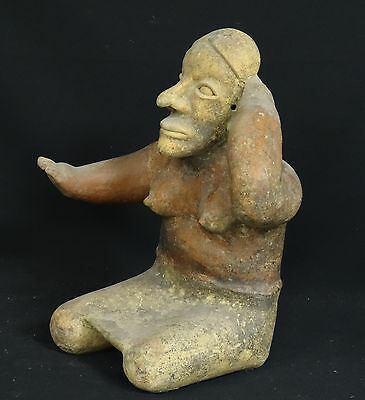 "Superb Pre-Columbian  Jalisco Ameca Style Seated Female Effigy Figure ~ 13"" H 2"