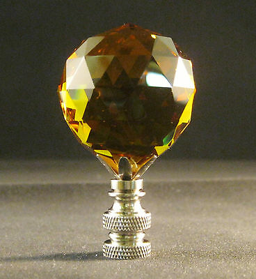 Lamp Finial-Lite Amber Leaded Crystal Lamp Finial-Satin Nickel Base 2