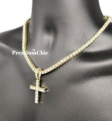 ICED Cross Pendant & Tennis Chain Choker Gold Silver Plated Mens HipHop Necklace 8
