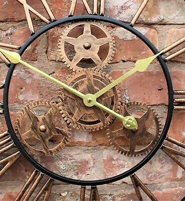 Large Metal Skeleton Wall Clock Antique gold Home Decor Round 58cm Indoor & Out 8