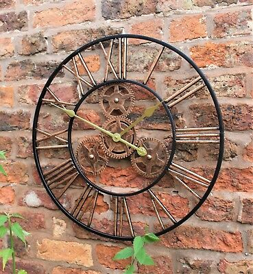Large Metal Skeleton Wall Clock Antique gold Home Decor Round 58cm Indoor & Out 6