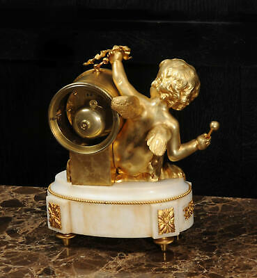 ORMOLU & WHITE MARBLE ANTIQUE FRENCH CLOCK PUTTO in CLOUDS PLAYING a DRUM C1880 11