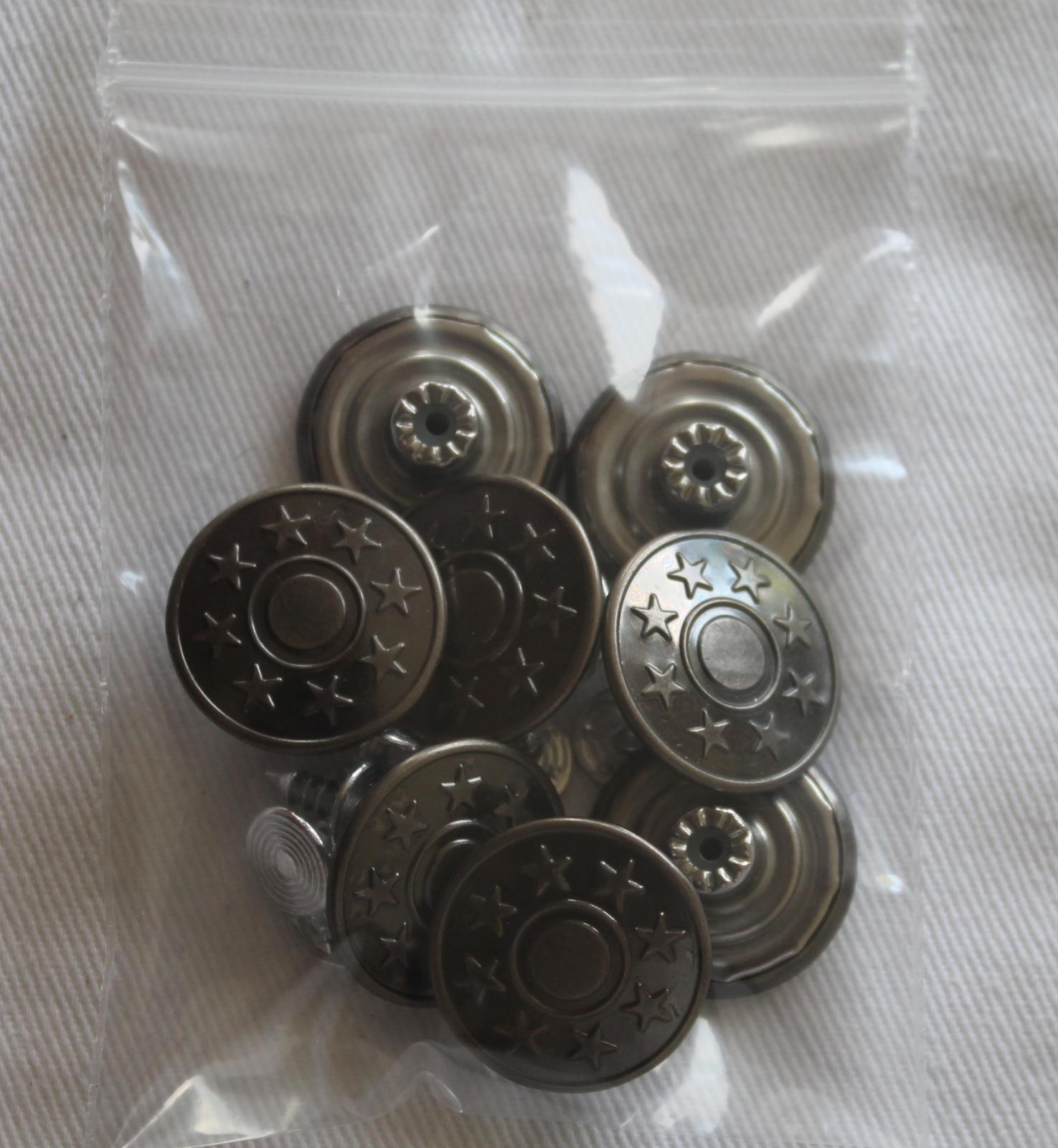 12 Stück Jeansknöpfe 17 mm inklusive 12 Stifte Altkupfer Hosenknöpfe Metalknöpf