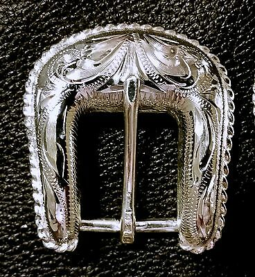 """2-5//8/"""" Hand Engraved Silver Plated Buckle Sets Spur Straps Headstall      #7"""