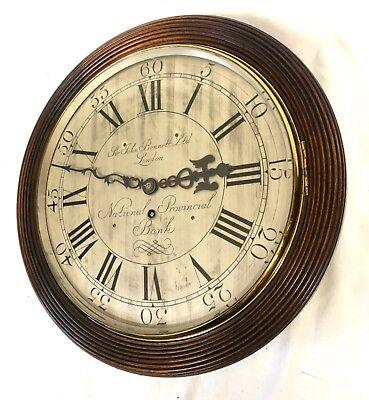 National Provincial Bank CHAIN Fusee Mahogany Wall Clock SIR JOHN BENNETT LONDON 2