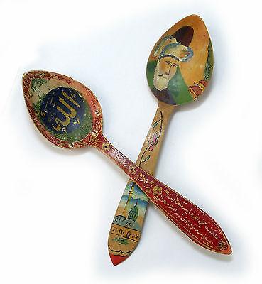 Vintage 1970's Turkey Handpainted Wood Spoons Signed S. Tirayki Konya 8
