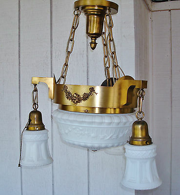 Salvaged Elegant Antique Colonial Revival 4 Bulbs Ceiling Lamp Chandelier 11