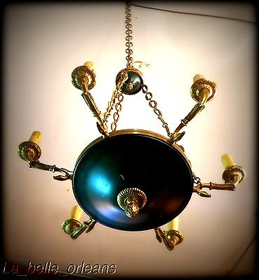 Charming Empire Tole And Brass Chandelier . 6 Arms / Snakes !!! 2