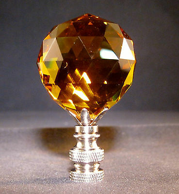 Lamp Finial-Lite Amber Leaded Crystal Lamp Finial-Satin Nickel Base 7