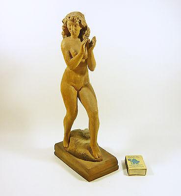 "Nude Lady Dancing, Dancer Girl 12"", Vintage Woodenware Carved Figurine! 2"