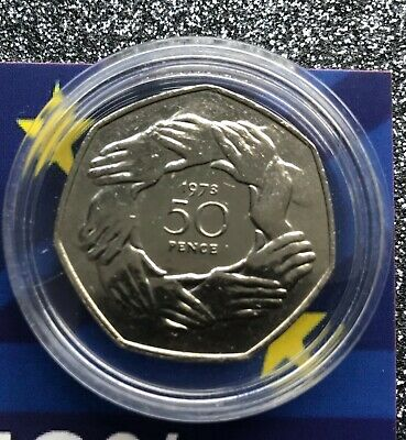 1973 and 2020  Join EU/ Brexit 50P coins mounted on BREXIT RESULT background 4