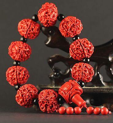 China old natural red jade cinnabar bangle Chinese jade beads Bracelet a26 4