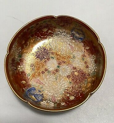 MARKED Genzan JAPANESE TAISHO PERIOD THOUSAND FLOWER BOWL 4.75 in dia 3