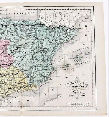 1868 Spain Map Ancient Espagne Citerieure Villages Delamarche
