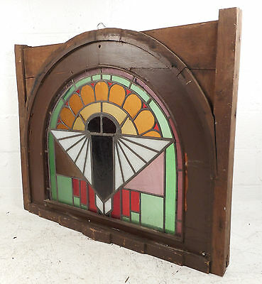 Unique Vintage Arched Stained Glass Window Panel (2828)NJ 2