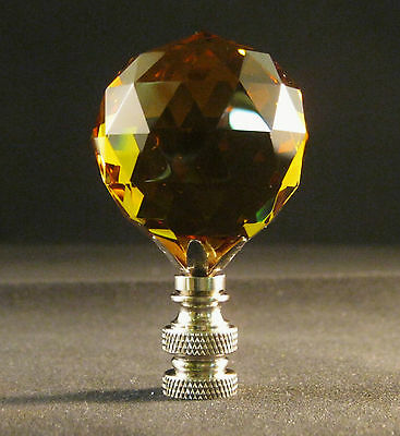 Lamp Finial-Lite Amber Leaded Crystal Lamp Finial-Satin Nickel Base 8